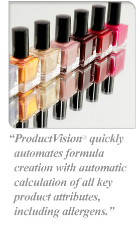 ProductVision® quickly automates formula creation with automatic calculation of all key product attributes, including allergens