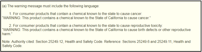 Prop65 reg text